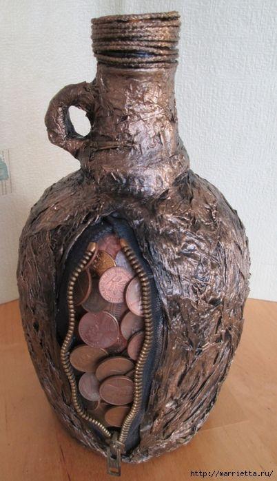 Монетизированная бутылочка для подарка с намеком. Мастер-класс (10) (402x700…
