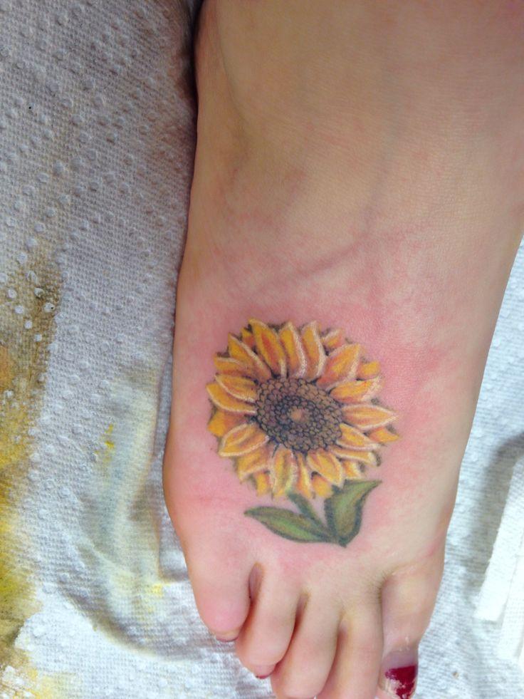 Small Sunflower Tattoo: My Sunflower Tattoo #sunflower #tattoo #foottattoo #foot