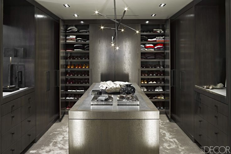 Gentleman's dressing room in a home in Beverly Hills designed by Jamie Bush and Dennis Gibbens