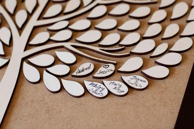 custom wedding guest book alternative - 3D wedding tree guest book - Tree of Life - 150 leaves. $100.00, via Etsy.