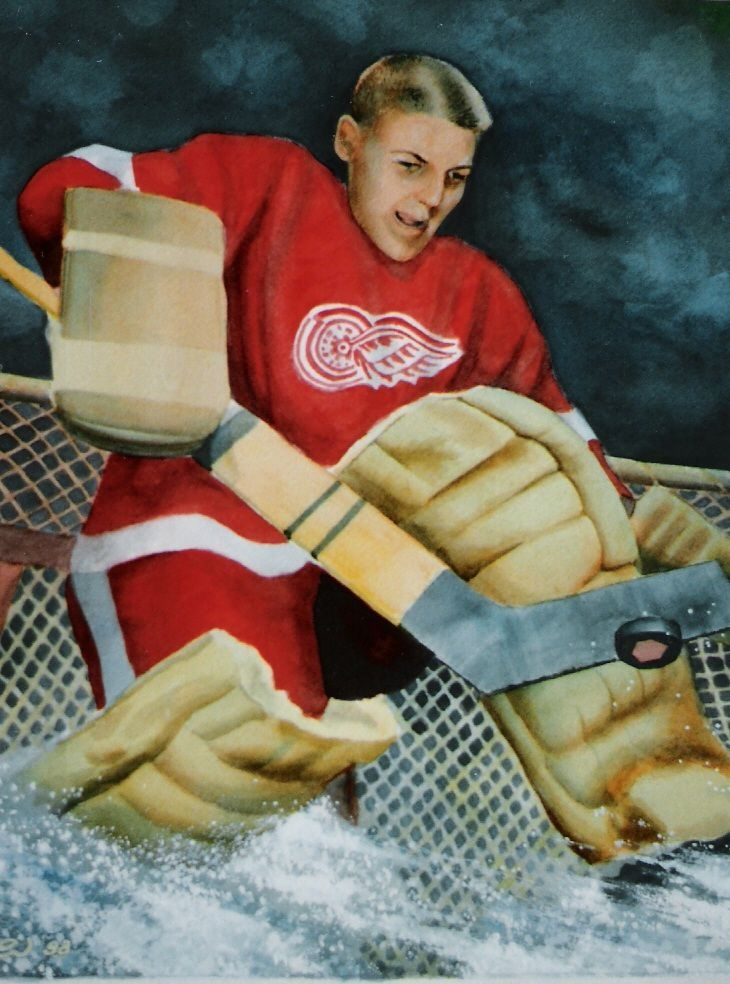 A WATERCOLOR AND GOUACHE OF ONE OF MY YOUNG HERO, THE LEGENDARY TERRY SAWCHUCK OF THE DETROIT RED WINGS.......UNE AQUARELLE D'UNE LÉGENDE DU HOCKEY ET DE MA JEUNESSE, L'UNIQUE TERRY SAWCHUCK DES RED WINGS DE DETROIT..