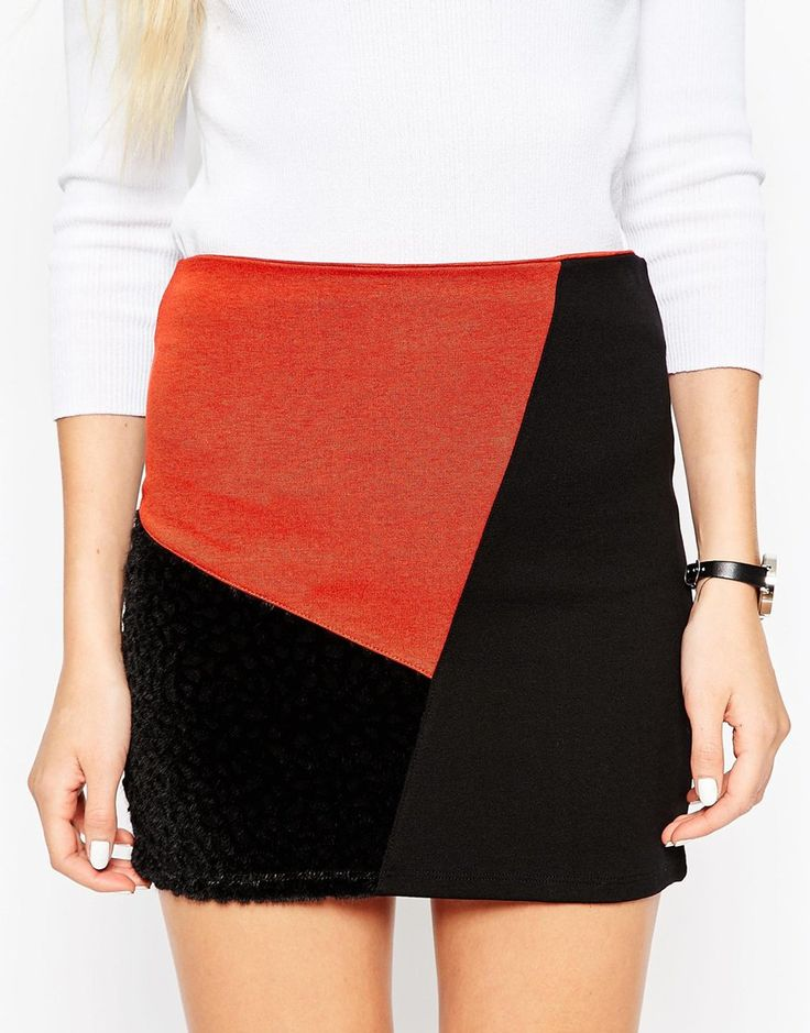 Image 3 of ASOS Mini Skirt In Patchwork Colour Block