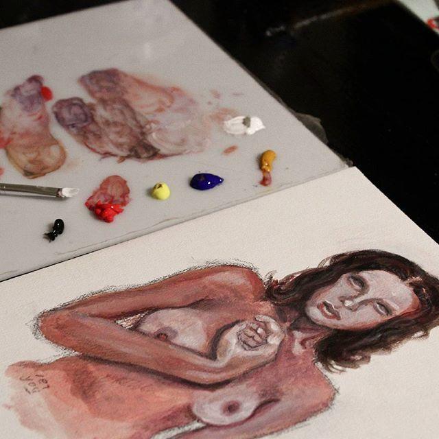 """Innocence"" is done! #eiyoustudio #cardboard #gallery #modernart #contemporaryartcurator #contemporaryart #contemporary #artdirect #artfido #artwork #fineart #painting #drawing #draw #lady #figurative #pallet #colors #acryliccolor #acrylics #pencil #allartpost #instadaily #instaart"