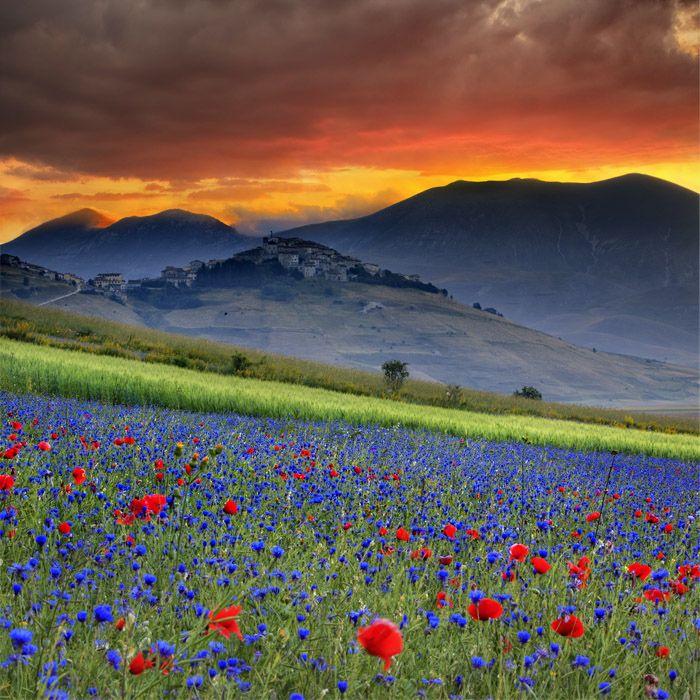 Castelluccio di Norcia, Umbria, Italy Burning sunrise by Maurizio Rellini