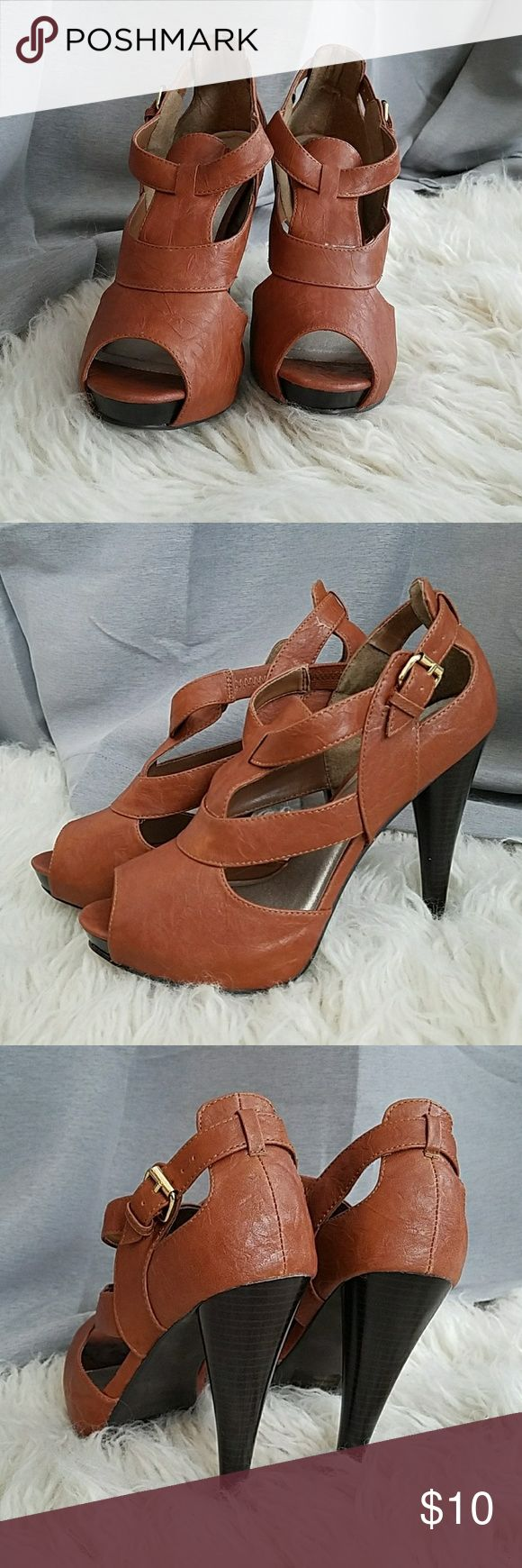 Charlotte Russe Tan Heels Charlotte Russe tan, open toed heels, never worn, scuff mark along outside of the right shoe where the platform crease is located Charlotte Russe Shoes Heels