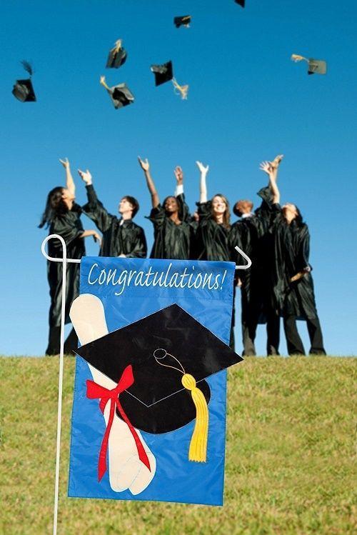 Graduation Party Decorations Garden Flag Hanging Sign Congratulations Nylon Cap