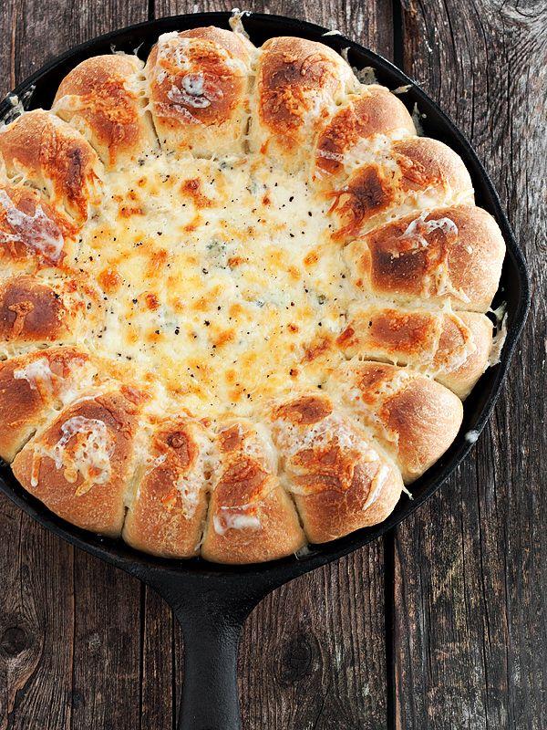 Warm Skillet Bread and Artichoke Spinach Dip - warm pull-apart rolls around a warm, creamy Artichoke Spinach dip.