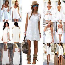 Bianco Sexy Da Donna Tutina Da Sera Casual Estivo Mini Abito Pantaloncini