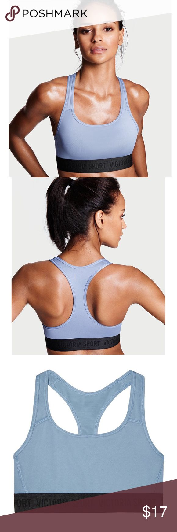 Victoria's Secret VSX Sport Racerback Sports Bra Brand new with tags, size Medium. This Victoria's Secret VSX Sport Racerback Sports Bra is both functional and stylish. Comes in the color Faded Denim, which is a beautiful baby blue color. Has the Victoria Sport logo on the black band. Medium support. Lightweight fabric with four way stretch. Body Wick keeps you cool and dry! Victoria's Secret Intimates & Sleepwear Bras