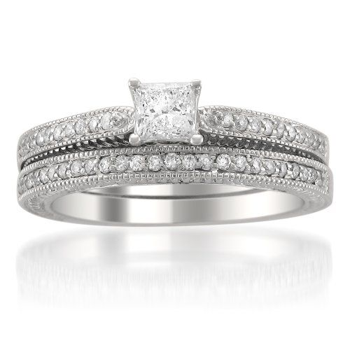 Cool k White Gold Vintage Style Princess cut Diamond Wedding Bridal Set Ring