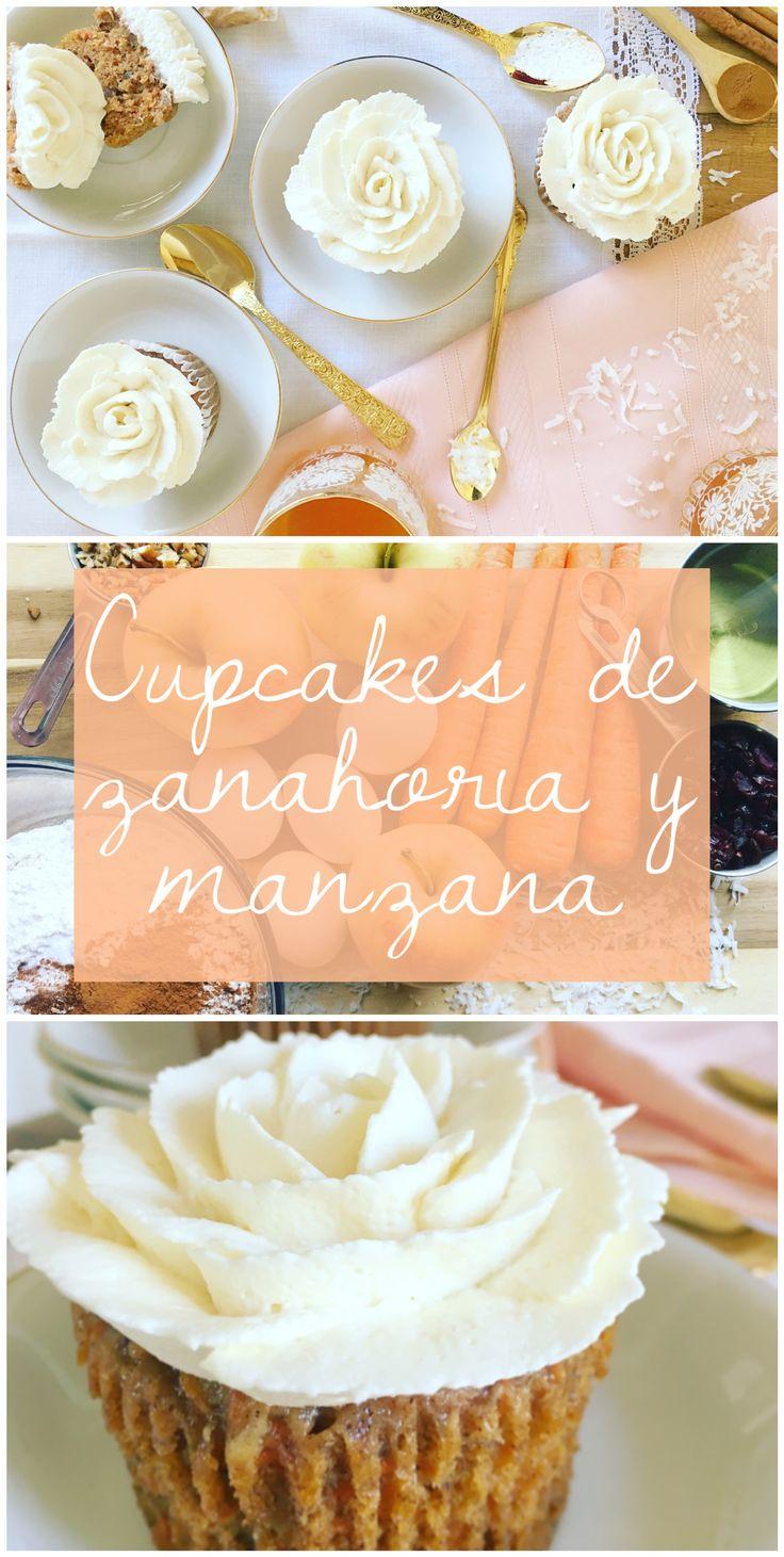 Cupcakes caseros de zanahoria y manzana, con un toque de canela y trocitos de nueces, arándanos y coco rallado dentro de la masa; emparejados con un simple pero delicioso betún de mantequilla con queso crema.