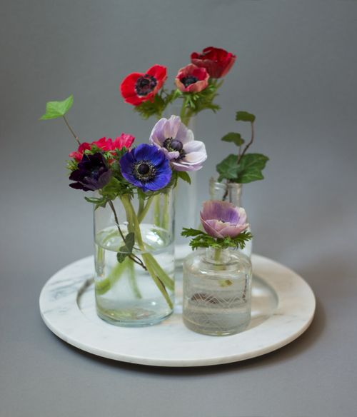 Flowers on marble plate from Stenhuggardottern