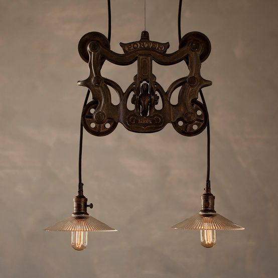 Vintage Industrial Style Pulley Lamps