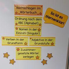 """Merkstreifen für die Wörterbucharbeit (""""Sternenklar-Tafel"""") Die letzten Deutschstunden haben wir fleißig diverse Arbeitstechniken wiederho..."""