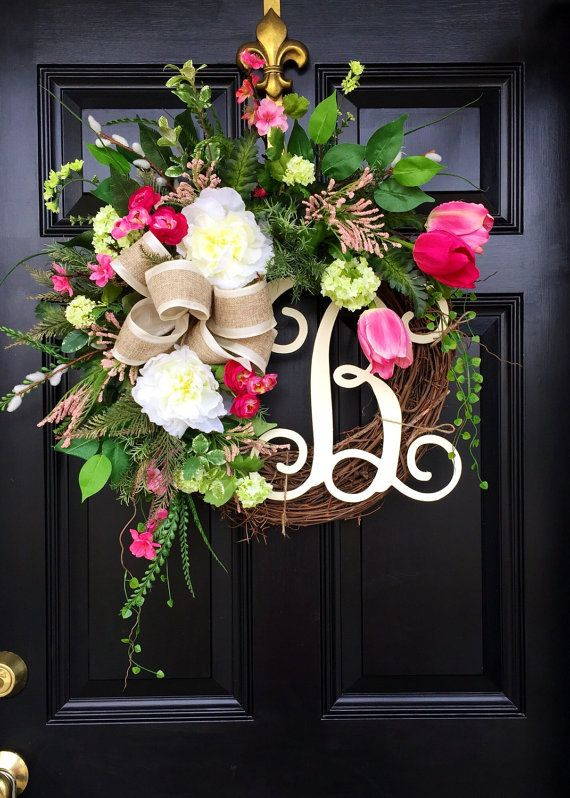 Spring wreaths summer wreaths front door wreaths by Spring flower arrangements for front door