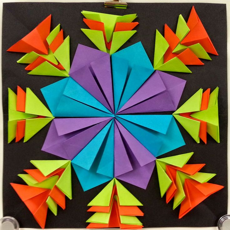 Symmetry in reliefs. Gr 4 (Radial paper reliefs from artwithmsgram)