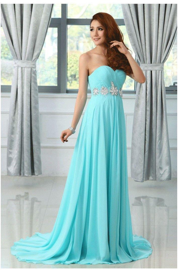Chiffon turquoise colored bridesmaid dress at Bling Brides Bouquet online Bridal Store  #BlingBridesBouquet