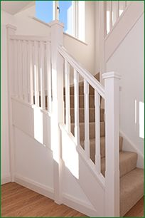 Pershore Staircase   White Primed Softwood Flight Of Stairs With A Double  Winder Leading To A