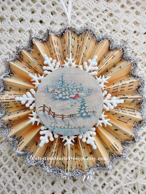 Celestina Marie Designs: Christmas Card Ornaments Tutorial.