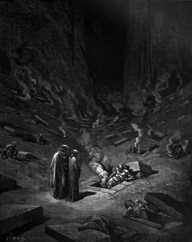Y dijo: «Están aquí los heresiarcas, sus secuaces, de toda secta, y llenas están las tumbas más de lo que piensas. [...]» (Infierno, IX, 127-129)