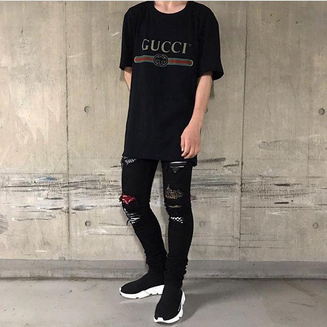 WEBSTA @ bestofstreetwear - Follow @outfitsociety | Drop your comments below #BestOfStreetwear Outfit by @yuuuusuke1015 ✅Tee - GucciJeans - AmiriShoes - Balenciaga