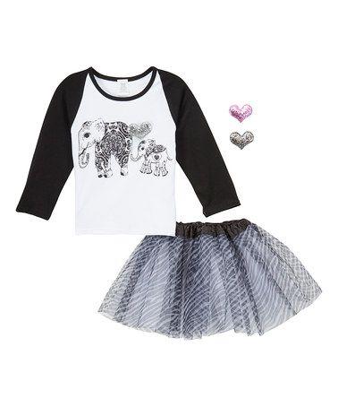 Loving this Black & White Elephant Raglan Tee & Zebra Tutu Set - Girls on #zulily! #zulilyfinds