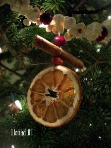 Dried orange, cinnamon and cranberry ornaments