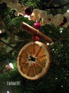 Dried orange, cinnamon and cranberry ornaments