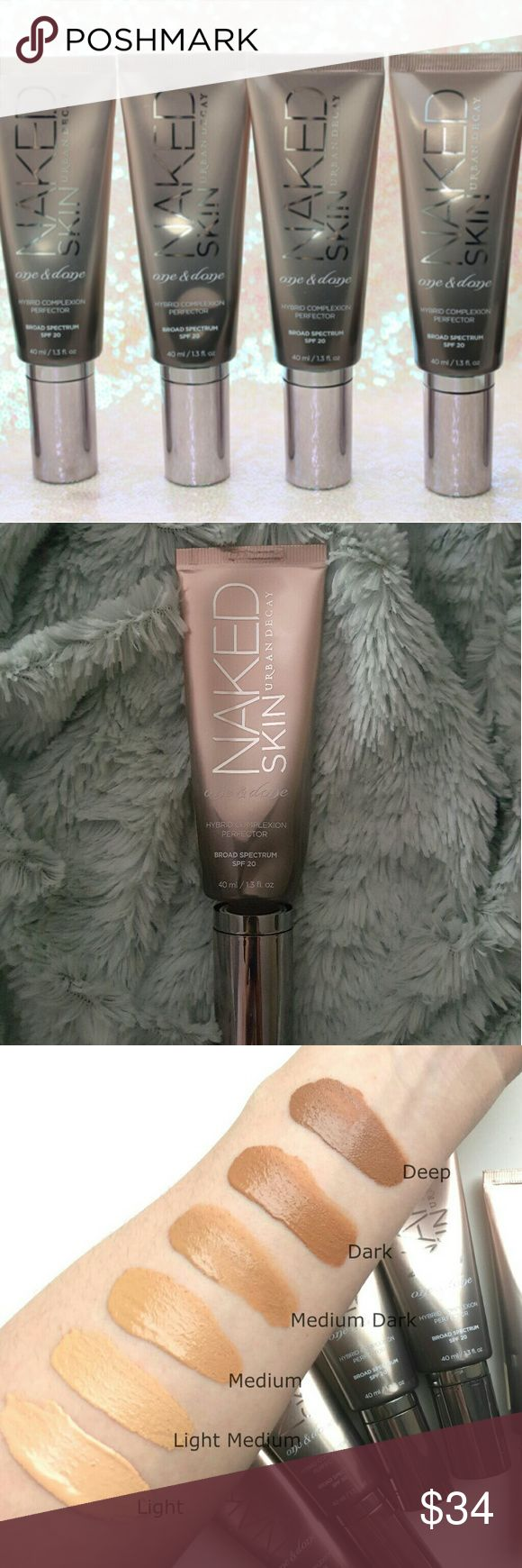 Urban decay (med light) naked One and done With Urban Decay's Naked Skin One & Done Hybrid Complexion Perfector, you'll get the benefits of skin treatment and protection with the coverage of a sheer foundation. One step and you're done. Instantly blur imperfections and even out skin tone - for beautifully perfected, ultra definition skin. (Naked Skin One & Done gets the job done so well. Lightly used. Shade: (Med light) No returns on cosmetics. Pump nozel dispenser. Urban Decay Makeup…