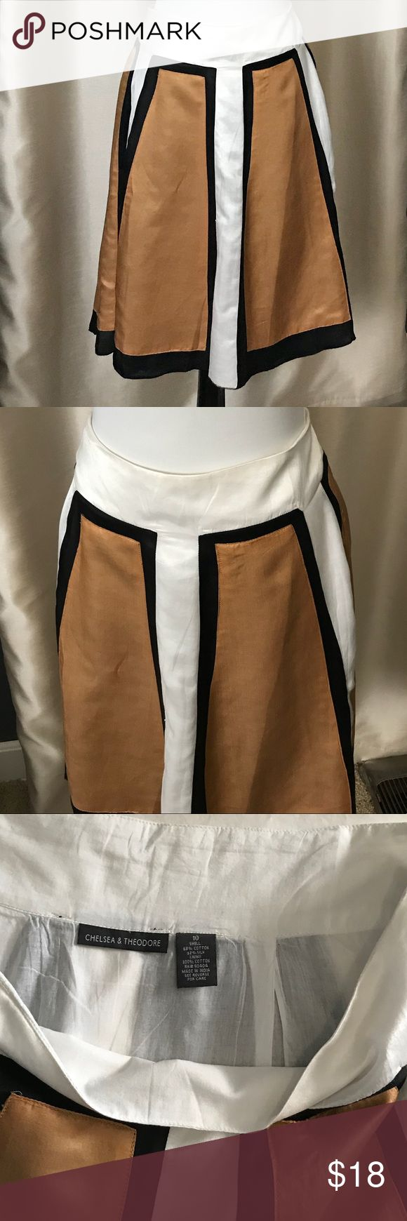 A Line silky color block skirt Silk and cotton A Line color blocked skirt. Size 10. Cotton lining.  No tags but never worn. Chelsea & Thoedore Skirts A-Line or Full