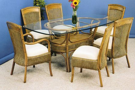 Cayman Wicker Dining Set With 6 Cane Chairs From Summit Cane :  Americanrattan.com