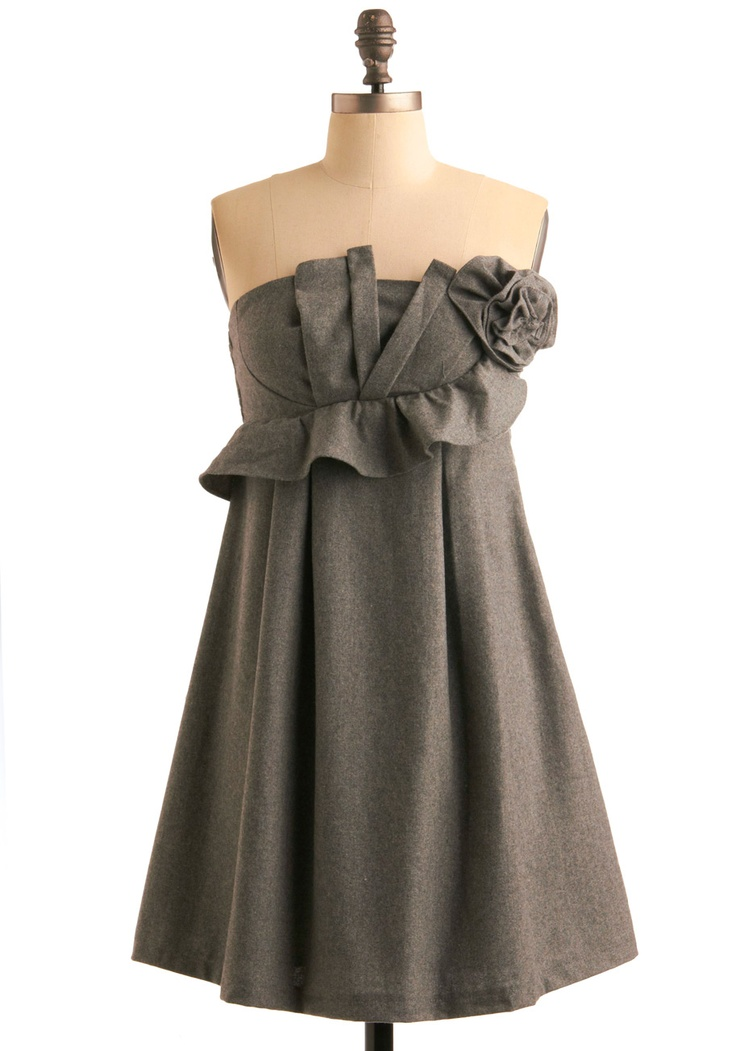 Sculpted Wool Dress: Features a gorgeous strapless cut with an artfully  pleated bodice, blossoming rosette and asymmetrical ruffle nearby, smocked  backside, ...