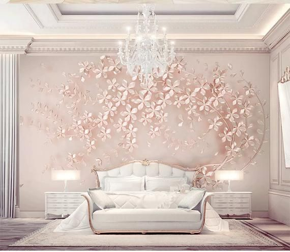 Custom Creative Tree Small Flowers Wallpaper 3d Tv Background Trees Flowers Wall Home Decoration Background Mural 3d Wallpaper Rose Gold Bedroom Rose Gold Bedroom Decor Wallpaper Decor