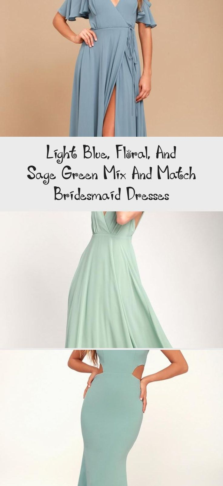 Blue floral and mist sage green mismatched bridesmaid dresses by Jenny Yoo #LavenderBridesmaidDresses #BridesmaidDressesColors #BridesmaidDressesMauve #BridesmaidDressesTwoPiece #DavidsBridalBridesmaidDresses