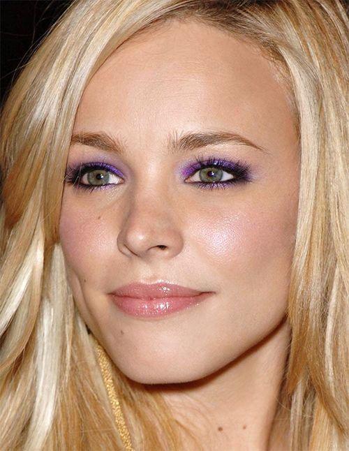 Rachel McAdams  Purple smoky eye with nude lips