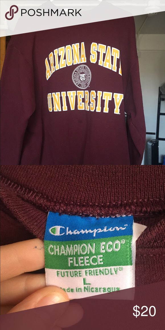 Arizona state university maroon crewneck maroon, super soft corn only a few times. size large Champion Tops Sweatshirts & Hoodies