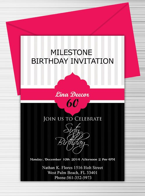 milestone birthday invitation template free download