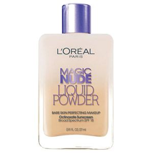 Magic Nude Liquid Powder Bare Skin Perfecting Makeup SPF 18 Foundation. Lightweight face makeup with sunscreen.