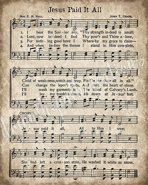 Jesus Paid it All Print, Printable Vintage Sheet Music, Instant Download, Aged Antique Hymn ...