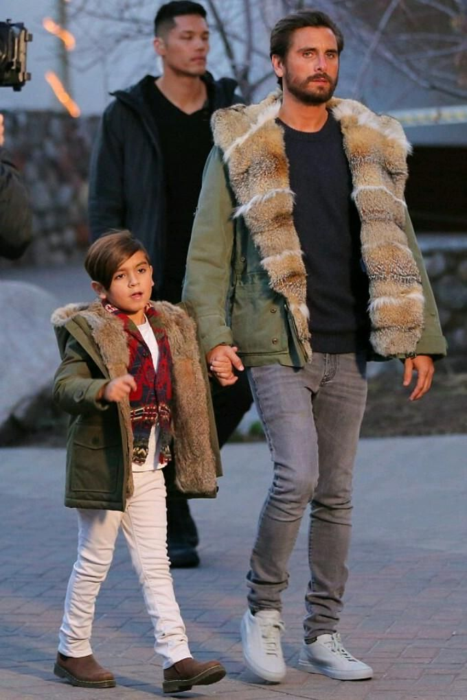 Mason Disick wearing Dr. Martens Banzai Chelsea Boots in Dark Brown Wyoming