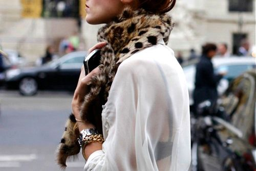 silk blouse and leopard scarf.