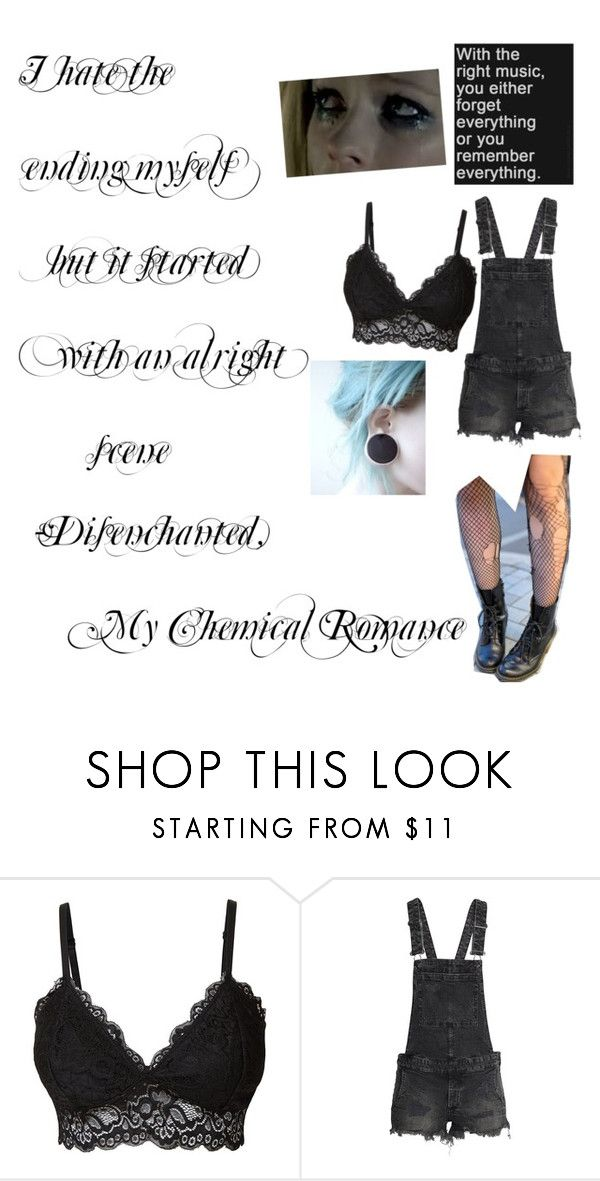"""""""Disenchanted- My Chemical Romance"""" by awkwardinternetobsessedteen ❤ liked on Polyvore featuring LE3NO and H&M"""