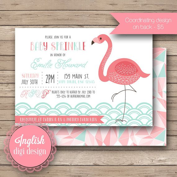 Flamingo Baby Sprinkle Invitation, Flamingo Baby Shower Invite, Printable Baby…
