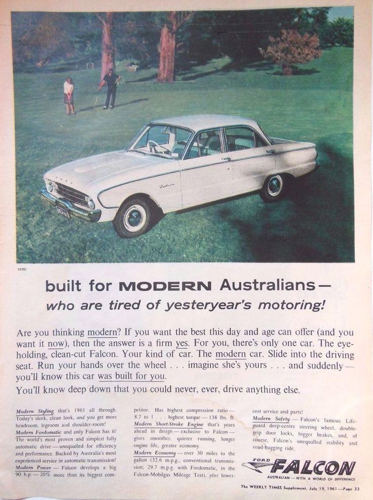 FORD FALCON CAR AD RETRO AUTOMOBILIA 1961 Original Vintage AUSTRALIAN Advert