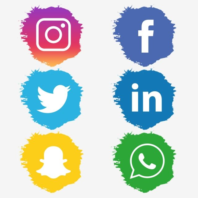 أيقونات وسائل التواصل الاجتماعي في شكل فرشاة Social Media Icons Icon Set Media Icon