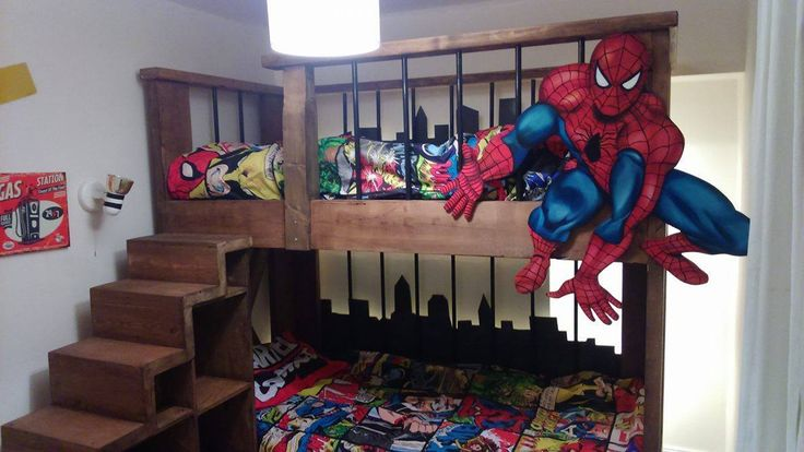 Spiderman superhero bunkbed . This bed is made of reclaimed wood and metal with LED lighting behind the skyline. Rustic industrial look. Marvel, Batman and X men are always a good inspiratio