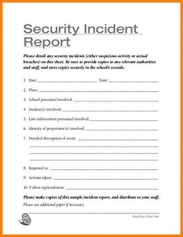 Security Incident Report Template Incident Report Security Report