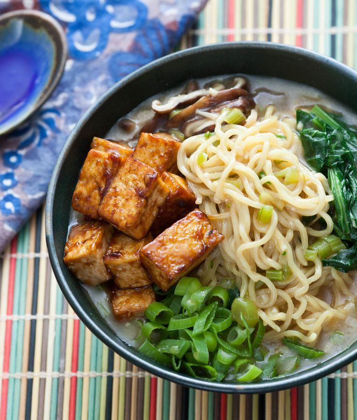 VEGAN Miso Shiitake Ramen with Hoisin-Glazed Tofu | Organize your favourite recipes on your iPhone or iPad with http://www.recipetinapp.com #recipes #vegan