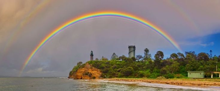 This rainbow seems to have it all; vibrant colors, primary and secondary bows, supernumerary bows, and even faint anticrepuscular rays. It was taken on July 29, 2012, after a mid-morning rain shower swept across the waters of The Rip at Queenscliff, Victoria, Australia.