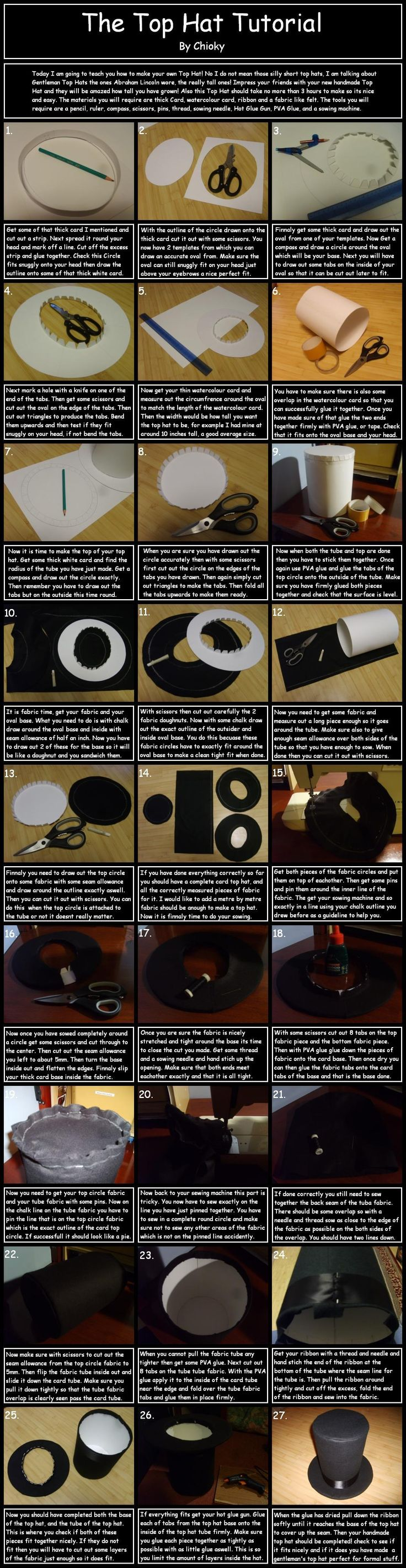 Costtumes | How to make a felt top hat... Cool costume idea for the boys maybe. #costumes